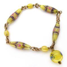 Vintage Edwardian Fancy Yellow Aventurine Rose Glass Bead Bracelet | Clarice Jewellery | Vintage Costume Jewellery