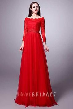 Scalloped Neck Long Lace Sleeve A-line Tulle Gown