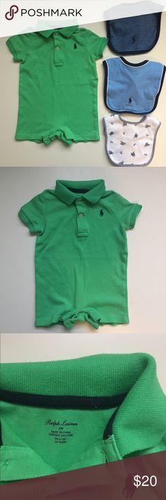 RL polo shirt romper & bibs - Ralph Lauren Ralph Lauren baby polo romper in green. Size 6 months. Has been gently worn.  3 Ralph Lauren bibs (one size) that have been gently used. They could use an ironing but they are clean and in great shape. One solid blue, one blue stripes and one lighter weight with teddy bears.  I love to bundle so check out my other listings too! Ralph Lauren One Pieces Bodysuits