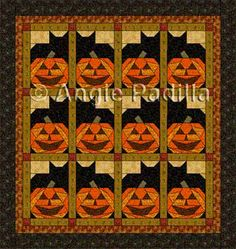 Pumpkin Cats - Here's a fun pattern for paper-piecing addicts! And just in time for Halloween! Use your favorite coordinated fabrics for an warm and lovely effect. Halloween Quilts, Halloween Quilt Patterns, Cat Quilt Patterns, Halloween Sewing, Fall Sewing, Halloween Fabric, Halloween Themes, Halloween Crafts, Halloween Blocks