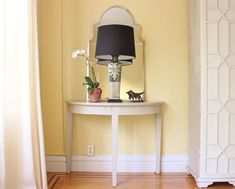Lamp Shades - Everything You Always Wanted To Know | Laurel Home - vignette from my living room. photo by Laurel Bern - wall color: Benjamin Moore Hawthorne Yellow hc-4