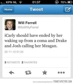 It's like he has watched it many times as well as Drake and Josh. Lol I wish it did end like this:)