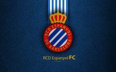 Download wallpapers RCD Espanyol FC, 4K, Spanish football club, La Liga, logo, emblem, leather texture, Barcelona, Catalonia, Spain, football