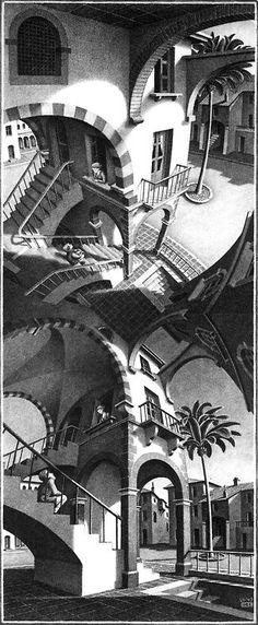 """""""High and Low"""" by M.C. Escher(c.1947)"""