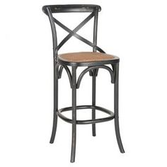 "Perfect pulled up to your kitchen island or pub table, this cottage-chic barstool is crafted of oak wood and showcases an x-shaped back design.   Product: BarstoolConstruction Material: Oak wood and rattanColor: Hickory and naturalFeatures:  X-Shaped back30.7"" Seat heightDistressed finishSlender legs Dimensions: 44.1"" H x 19.7"" W x 21.9"" DAssembly: Assembly required"