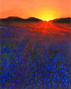 "Bluebonnet sunset on a Texas field. This is an 8 "" X 10"" painting in acrylic. Charles Wallis has painted several Texas bluebonnet landscapes. www.charleswallis.com"