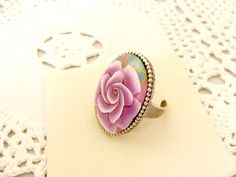Blue Rose Polymer Clay Ring by jewelryfimo on Etsy, $35.00
