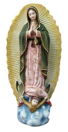 """Our Lady of Guadalupe Statue in full color. Blessed Mother Mary of Mexico Hand painted. Measures at 9.5"""" tall. Solid statue made of resin."""