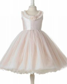Cute A-Line Scoop Yarn & Taffeta Flower Girl Dress