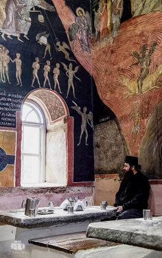 In the refectory (dining hall) of Great Lavra Monastery, Mount Athos, Greece