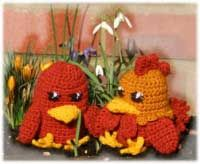 Cosy Up Hen and Cockerel egg cosies.  Cute egg cosies to delight the children - and adults - at Easter.  There are 12 different designs to make, all with their own quirky characteristics.