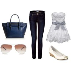 Cropped pants, tube top, wedge flats.