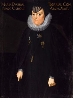 Portrait of Archduchess Maria Anna of Bavaria (1551-1608) in mourning by Anonymous, ca. 1600 (PD-art/old), Residenz München, mother of two wives of Sigismund III Vasa had a great influence at the court in Warsaw, similar portrait was undoubtedly in the collection of the Polish Vasas; in his last will from May 19th, 1598 Sigismund III bequeathed to the archduchess some reliquaries, crystal candelabras and a black and white tapestry with monogram of Sigismund Augustus from 1566