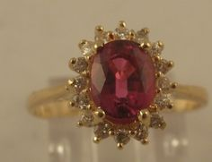 Estate .75ct Ruby .16cts Round Diamond 14k Gold Cocktail Ring
