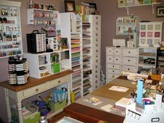 A little claustrophobic for me...but I've always wanted a scrapbooking room and if I did have one I would love for it to look something like this. So organized.