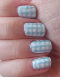Blue gingham nails