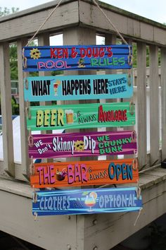 Inspiring innovations that we have a passion for! Pallet Projects Signs, Outdoor Pallet Projects, Diy Pallet, Swimming Pool Rules, Pool Rules Sign, Pool Quotes, Ocean Quotes, Beach Quotes, Backyard Signs
