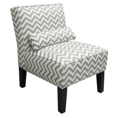 This trendy Skyline Furniture Fabric Slipper Chair is upholstered in an eye-catching pattern and a matching pillow accessory completes the look. Design Seeds, Armless Chair, Accent Furniture, Chevron Furniture, Furniture Chairs, Furniture Ideas, Coastal Furniture, Unique Furniture, Room Chairs