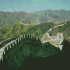 7 Wonders of the World Great Wall of China Cross Stitch Pattern Instant Download PDF #7wonders #xstitch