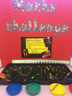 Sorting by colour or size. Challenge Cards, Math Challenge, Math Numbers, Numeracy, Eyfs, Arcade Games, Maths, Sorting, School Stuff