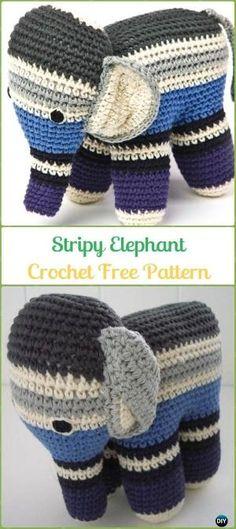 Crochet Stripy Elephant Amigurumi Free Pattern - Crochet Elephant Free Patterns by Makia55