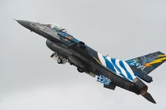 Greek Air Force take-off at RAF Fairford Fabulous paint scheme on the Zeus aircraft, along with huge conformal fuel tank on the top of the wings. Military Weapons, Military Art, Hellenic Air Force, F 16 Falcon, Viper, Counting, Airplane, Planes, Abandoned