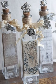 Could decoupage printed papers into bottles from dollar store Altered Bottles, Vintage Bottles, Liquor Bottles, Bottles And Jars, Glass Jars, Glass Bottle Crafts, Diy Bottle, Bottle Art, Bottle Lamps