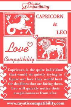 Capricorn is the quite individual that would sit quietly trying to figure out how they would beat the deadlines that are facing them. Leo will quickly notice their auspiciousness from afar. Capricorn And Leo Compatibility, Capricorn Leo, Gemini And Aries Relationship, Leo Lover, Zodiac Signs, Lovers, Palmistry, Astrology, Confidence