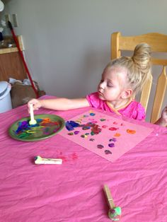 Clothespin Pom Pom painting toddler craft