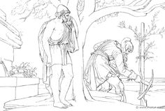"""""""He found his father alone in the well-ordered vineyard, digging about a plant; and he was clothed in a foul tunic, patched and wretched, and about his shins he had bound stitched greaves of ox-hide to guard against scratches, [230] and he wore gloves upon his hands because of the thorns, and on his head a goatskin cap; and he nursed his sorrow."""" (Hom.Od.24.226). Bonaventura Genelli (1798 – 1868)."""