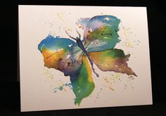 Abstract Butterfly Original Watercolor Print by McKinneyx2Designs