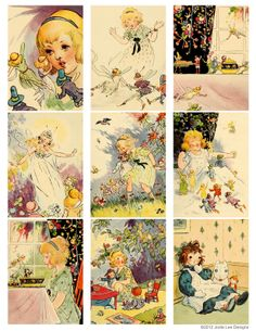 Free Printable! Vintage Fairy Book Cards from Jodie Lee Designs.