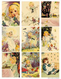 Free Printable! Vintage Fairy Book Cards from Jodie Lee Designs.