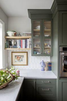 Jillian Harris Renovation Series Francescas Home Sandcast Bronze cabinet pulls from Emtek Green Kitchen Cabinets, Kitchen Redo, Kitchen Backsplash, New Kitchen, Updated Kitchen, Green Kitchen Island, Kitchen Ideas, Quirky Kitchen, Eclectic Kitchen