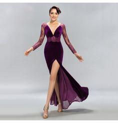 Samt V Ausschnitt Lila Abendkleid
