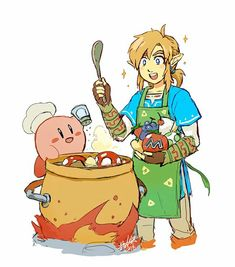 Link: It tastes really good, Kirby! Kirby: Poyo!