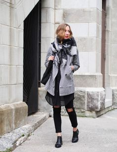 Grey and black Fall outfit #fall #outfit Simply Plaid Oversized Trench Coat