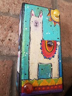 Brick Crafts, Brick Projects, Painted Pavers, Painted Rocks, Hand Painted, Painting Concrete, Stone Painting, Rock Painting, Brick Art