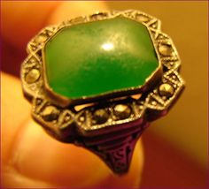 Antique Chrysoprase, Art Deco, Ring, Marcasite, Sterling Silver, Collectible, Art Deco Jewelry by BackStageVintageShop on Etsy