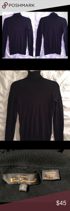 "Ben Sherman Plectrum Women's Black Turtleneck (S) Ben Sherman Plectrum Women's Black 100% Cotton Turtleneck (Small)   Worn once – excellent condition – no damage.  Soft, flattering on arms, torso and waist, high quality Ben Sherman 100% cotton long sleeve turtleneck sweater with ""Plectrum"" logo at waist.   Approx measurements: width from armpit to armpit: 17""; Length from shoulder to waist: 24.5"" and sleeve: 18"" Ben Sherman Tops"