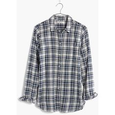 MADEWELL Slim Ex-Boyfriend Shirt in Coltrane Plaid ($25) ❤ liked on Polyvore featuring tops, coastal blue, long shirt, long flannel shirts, button-down shirt, boyfriend shirt and button up shirts