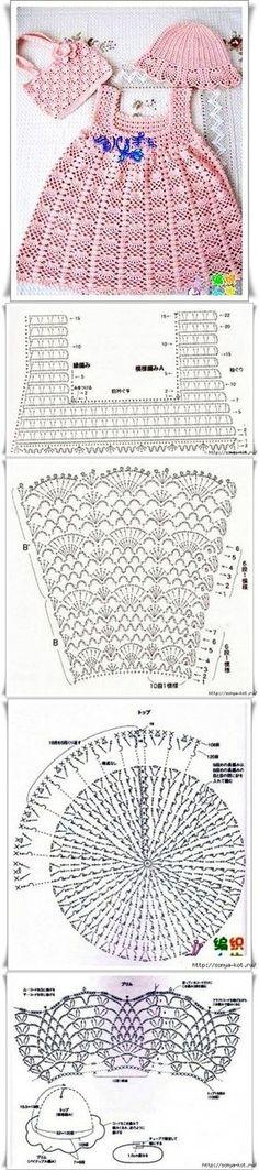 Crochet Baby Dress Crochet Baby Dress Летний комплект Tejido paso a paso…… Baby Girl Crochet, Crochet Baby Clothes, Crochet For Kids, Crochet Chart, Crochet Lace, Crochet Stitches, Crochet Wedding, Easy Crochet, Knitting Patterns