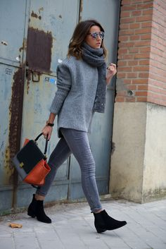 Lovely Pepa by Alexandra in an oversized gray sweater over gray jeans - casual street style outfit inspiration