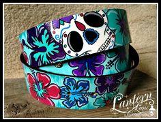 Custom painted belt---sugar skull and hibiscus