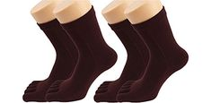 Bestwoohome Cotton Casual Short Five Fingers Toe Socks Solid Color for Women Pack of 2 Dark Brown ** Check this awesome product by going to the link at the image.