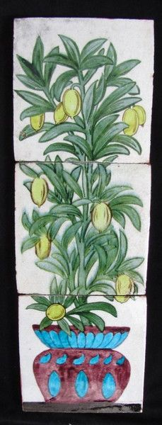 """William De Morgan tile panel """"Fruit Tree in Ornamental Pot"""" Frits to extremities. See Greenwood """"William De Morgan"""" plate 474 1872 - 1881 Three 6"""" tiles mounted on a wooden board"""