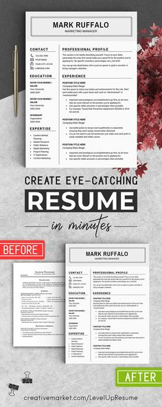 Modern 2 page resume template + cover letter template ( pink flower - 2 page resume template