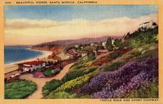 """Beautiful Homes, Santa Monica, California; Castle Rock and Coast Highway"" circa 1920s."