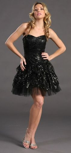 Short Prom Party Black Dress Sequin Strapless Full Layered Cocktail $146.99