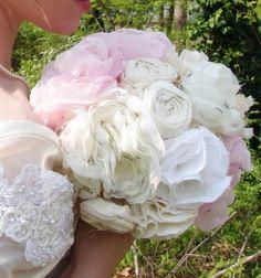 Fabric Flower Bouquets Vintage Wedding by AutumnandGraceBridal, $475.00